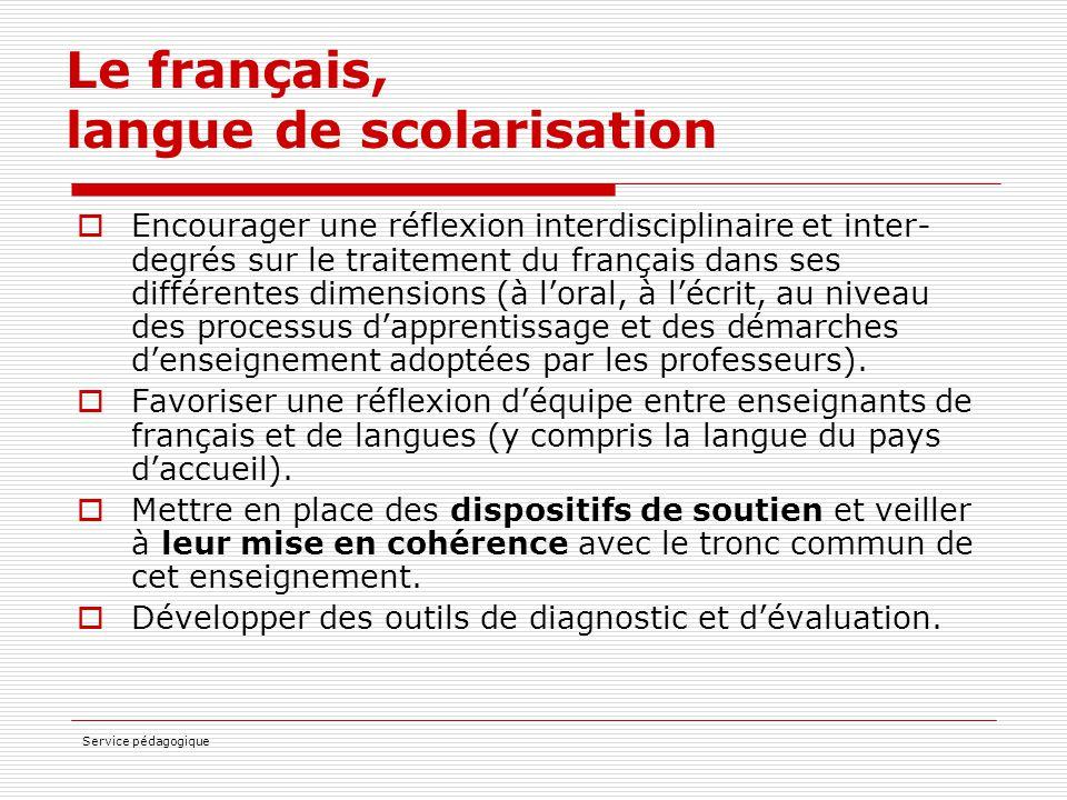 Le français, langue de scolarisation