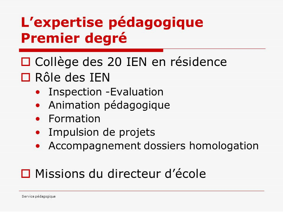 L'expertise pédagogique Premier degré