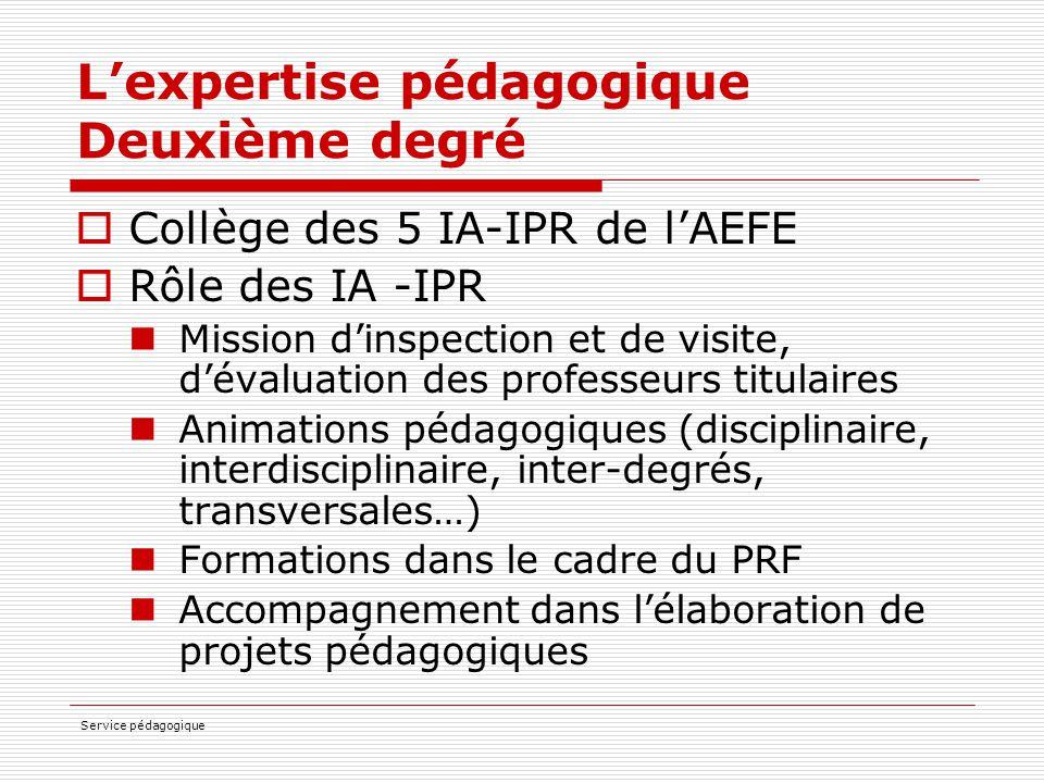 L'expertise pédagogique Deuxième degré