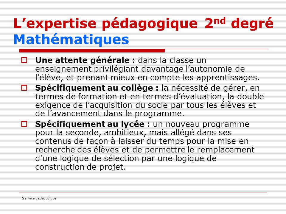L'expertise pédagogique 2nd degré Mathématiques