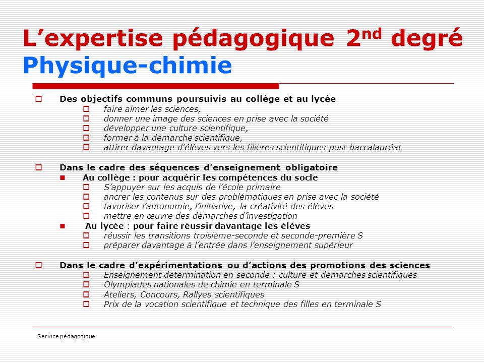 L'expertise pédagogique 2nd degré Physique-chimie