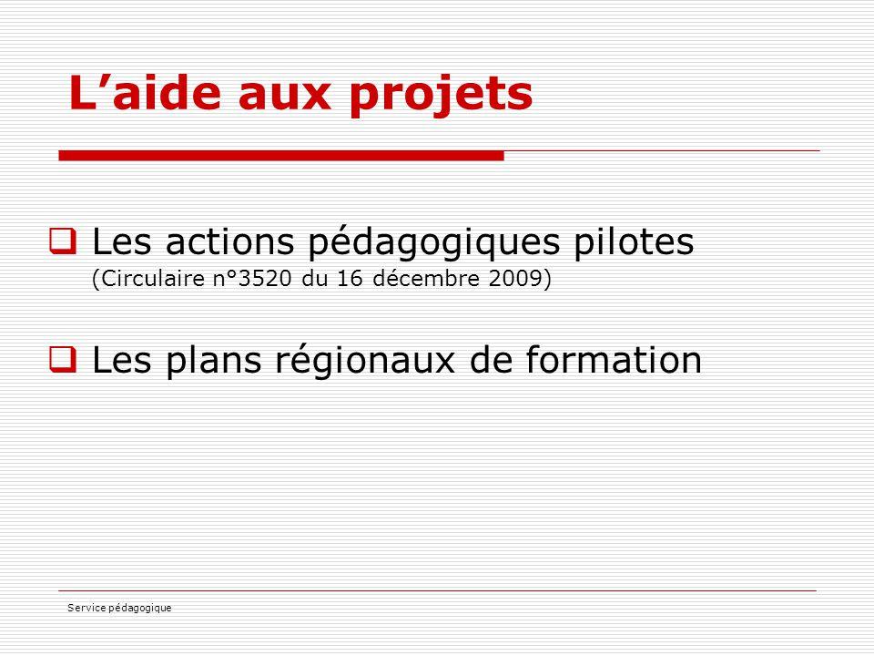 L'aide aux projets Les actions pédagogiques pilotes