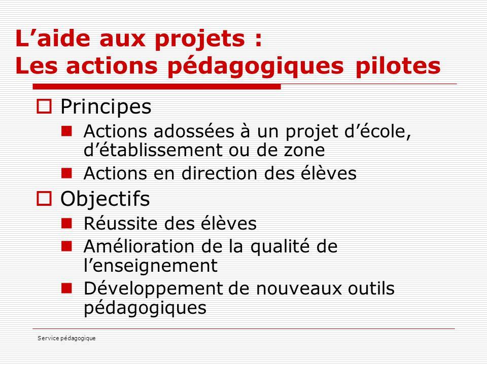 L'aide aux projets : Les actions pédagogiques pilotes
