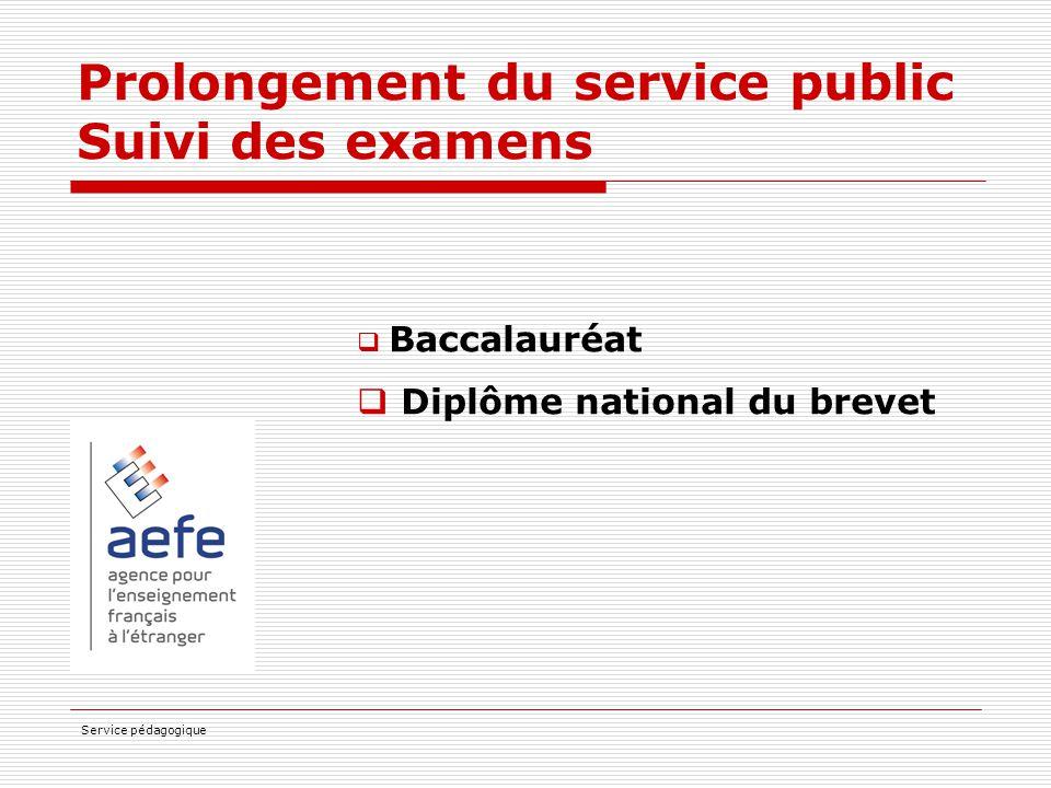 Prolongement du service public Suivi des examens