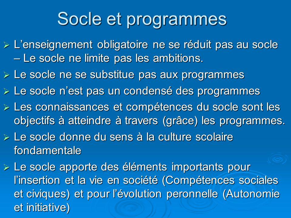 Socle et programmes L'enseignement obligatoire ne se réduit pas au socle – Le socle ne limite pas les ambitions.