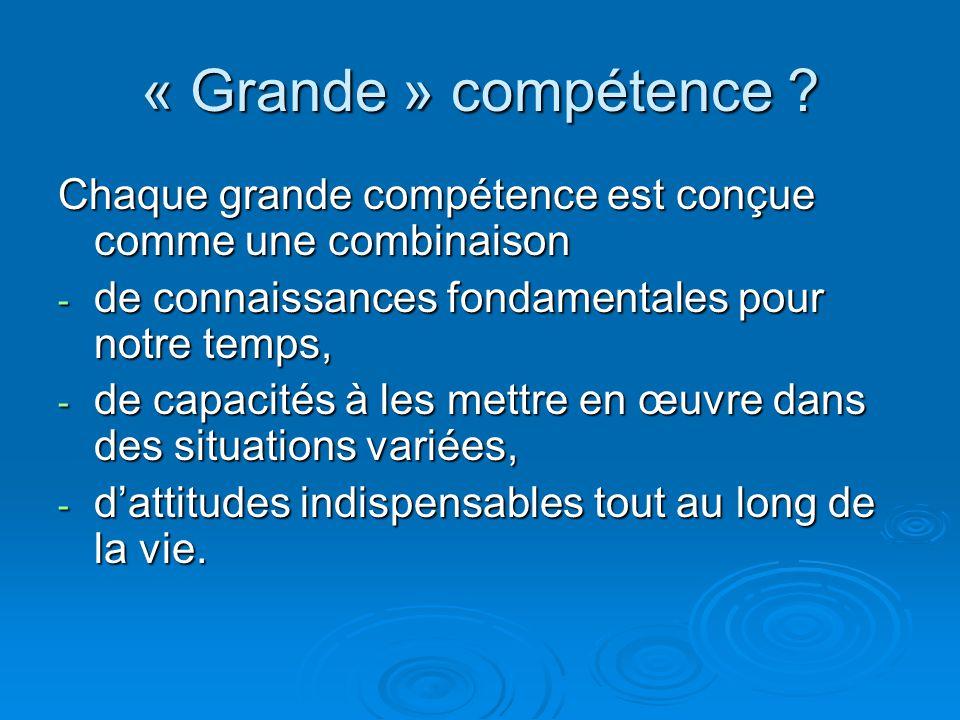 « Grande » compétence Chaque grande compétence est conçue comme une combinaison. de connaissances fondamentales pour notre temps,