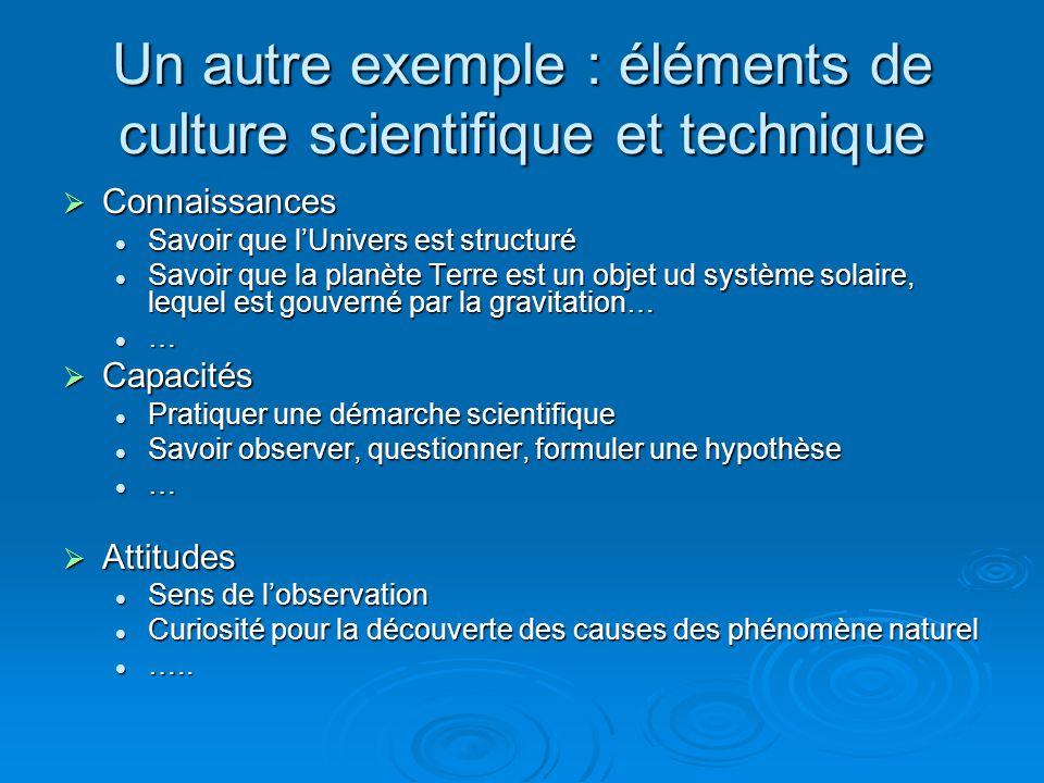 Un autre exemple : éléments de culture scientifique et technique
