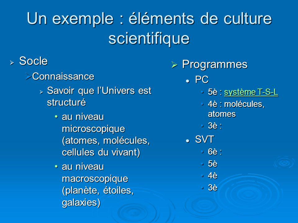 Un exemple : éléments de culture scientifique