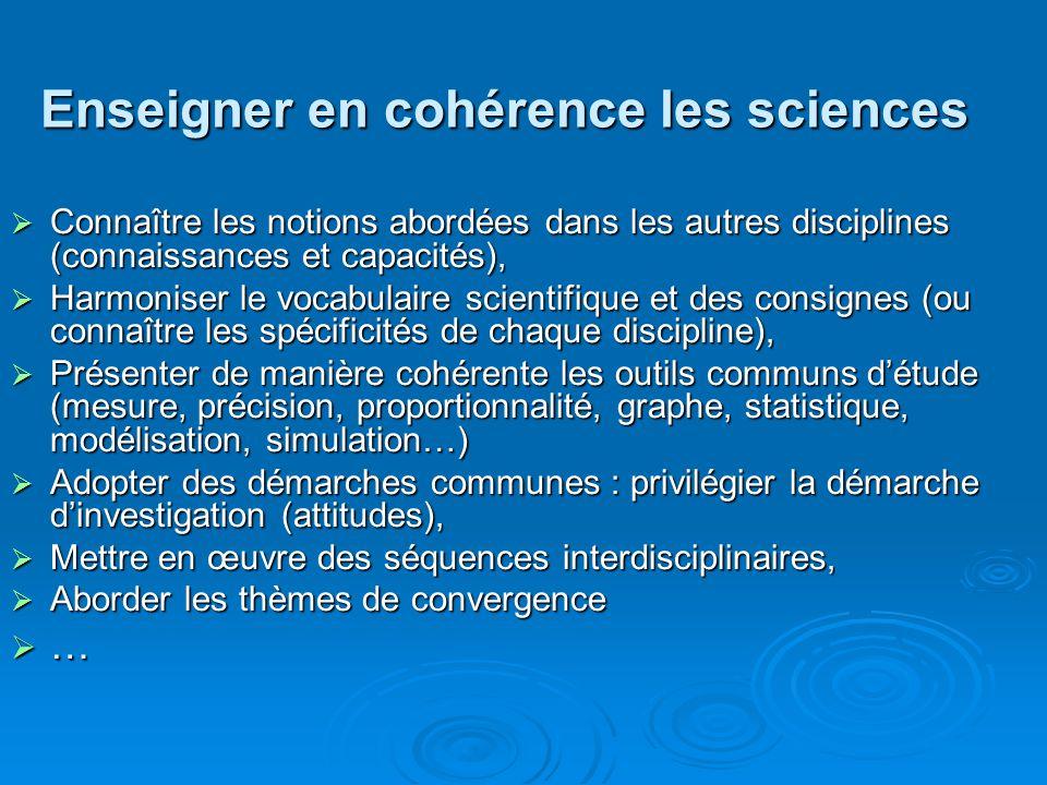 Enseigner en cohérence les sciences