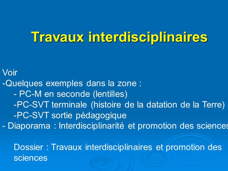 Travaux interdisciplinaires