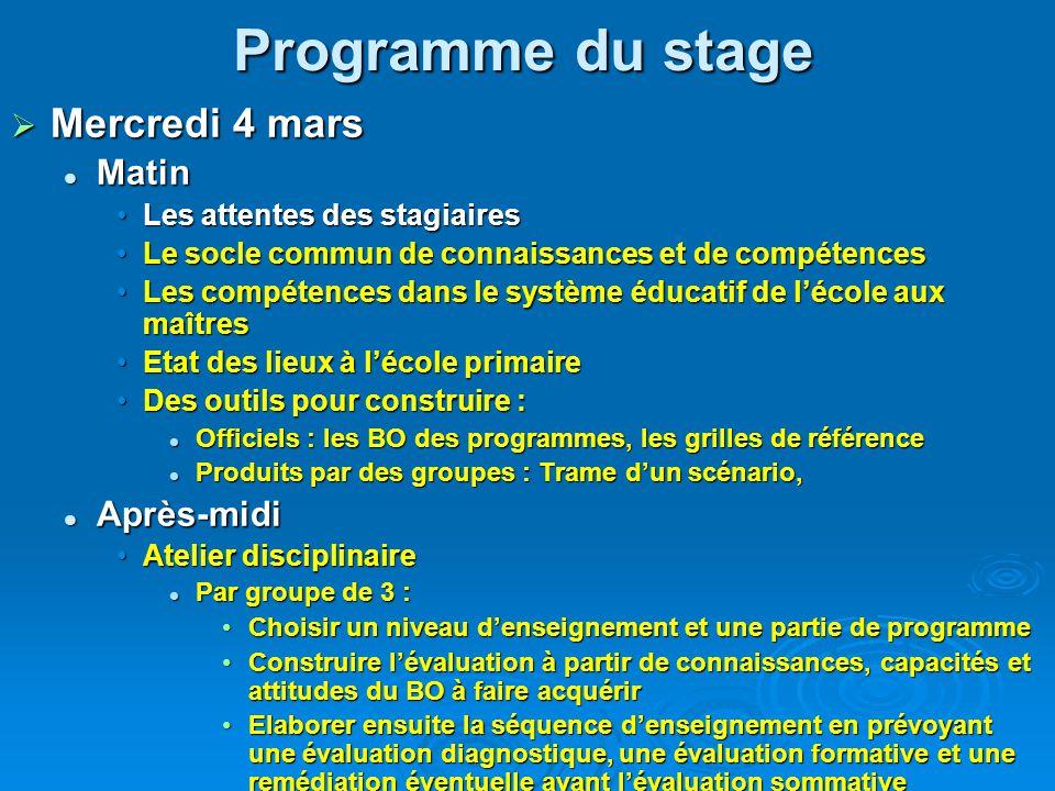 Programme du stage Mercredi 4 mars Matin Après-midi
