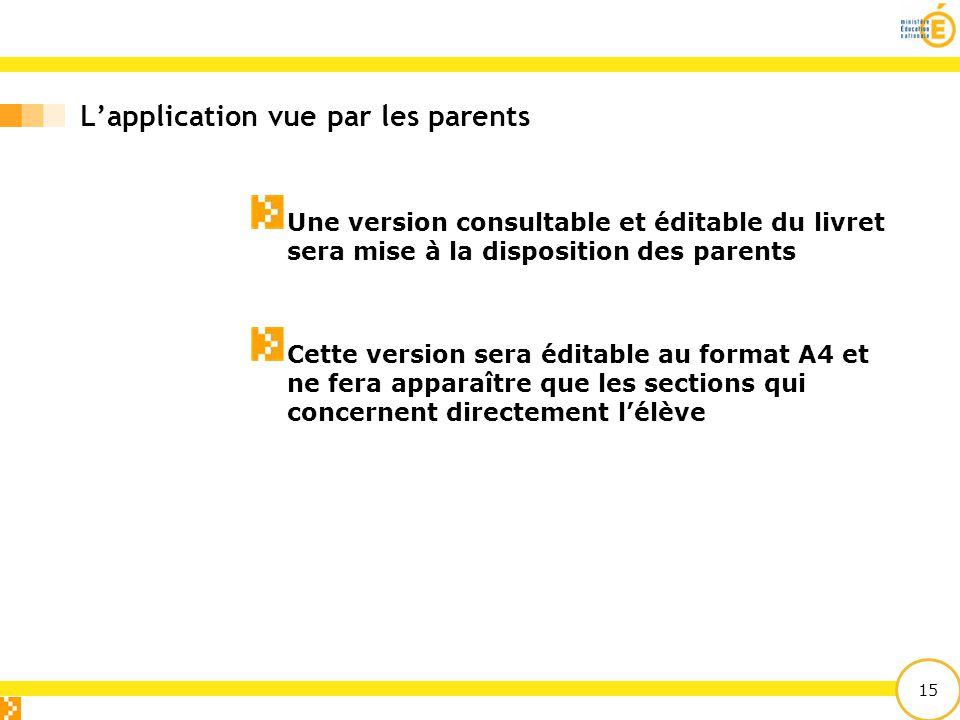 L'application vue par les parents