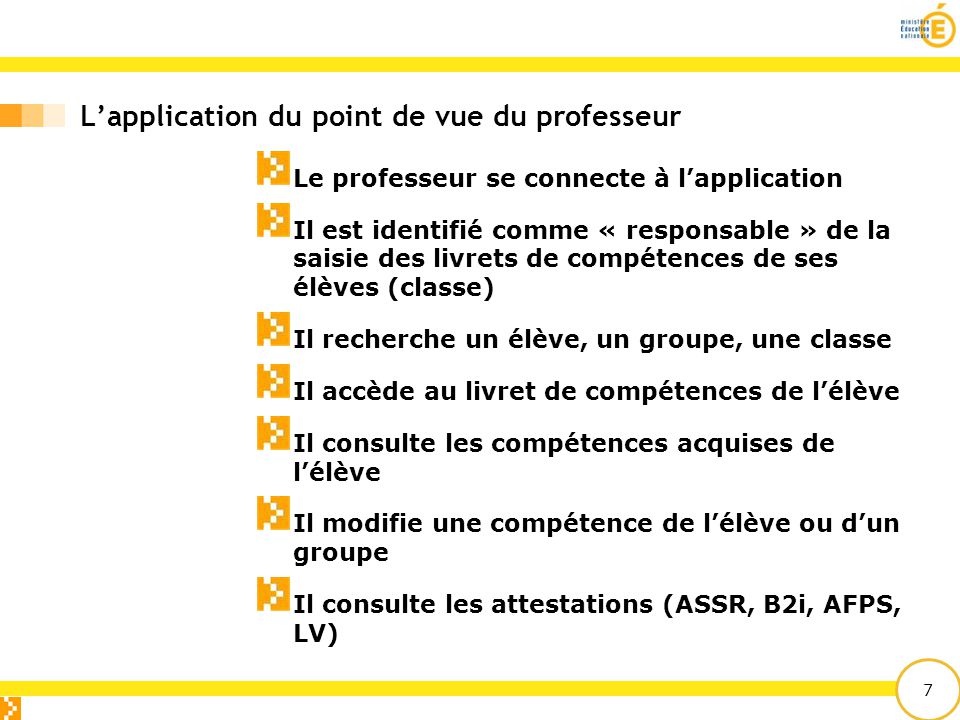 L'application du point de vue du professeur