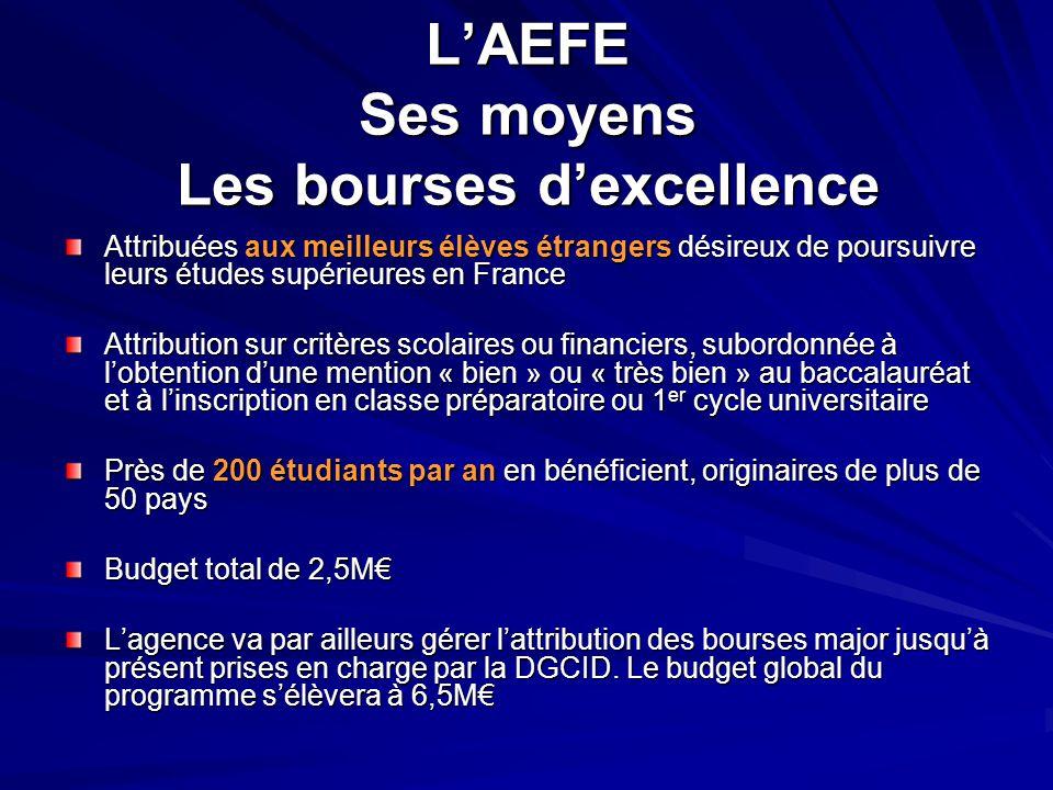 L'AEFE Ses moyens Les bourses d'excellence