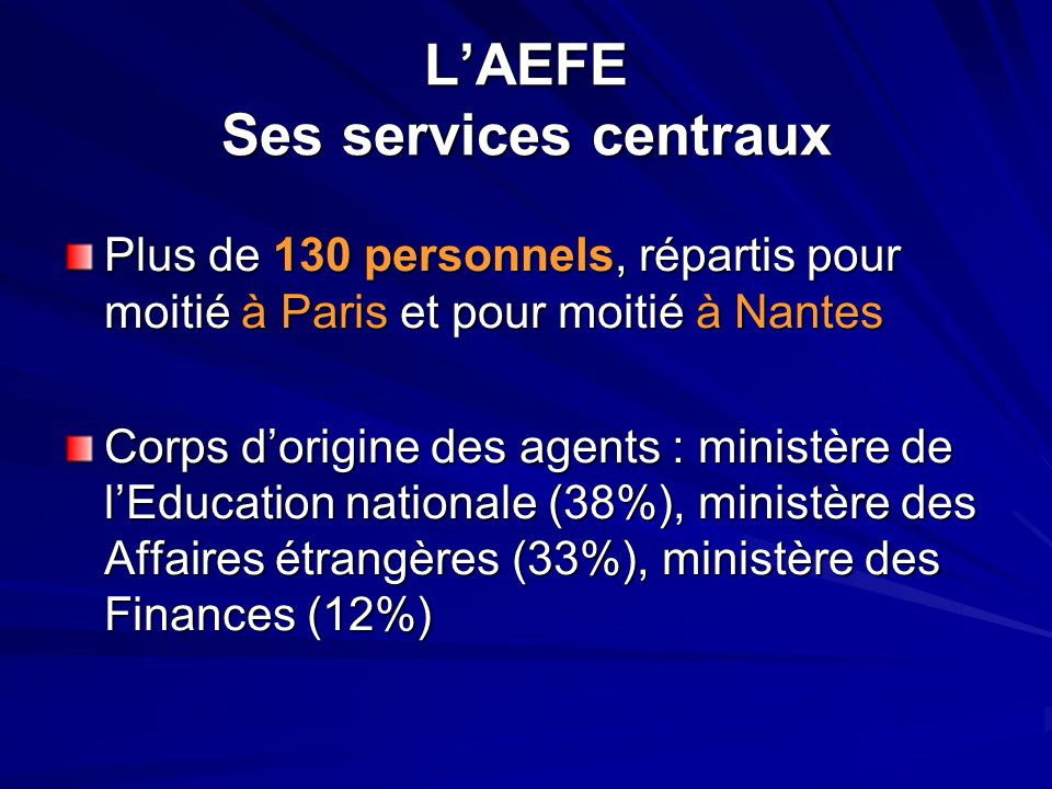 L'AEFE Ses services centraux