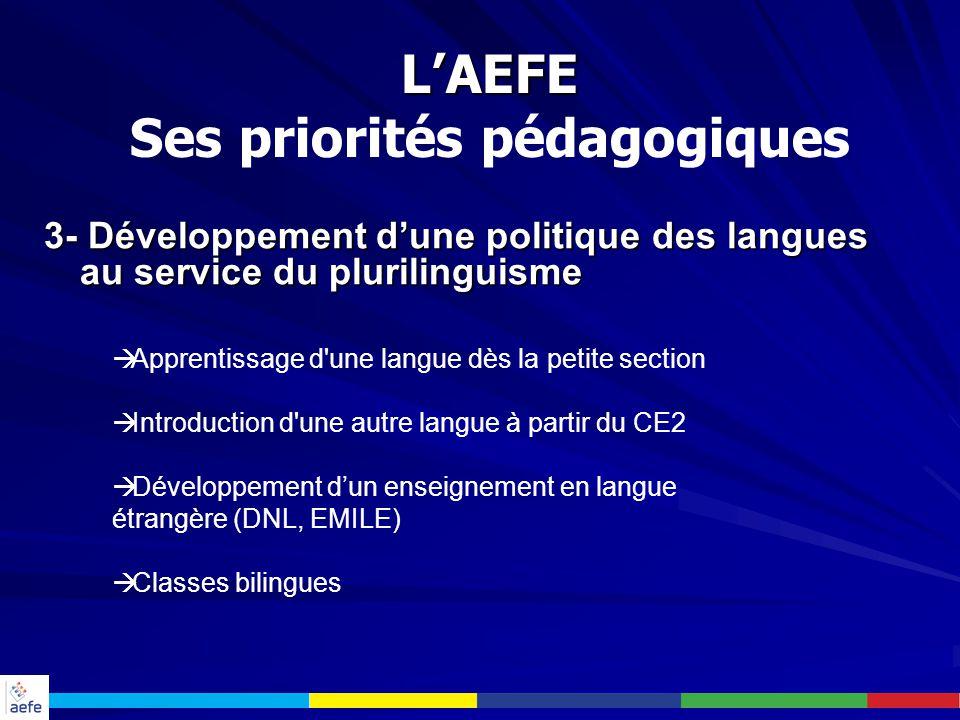 L'AEFE Ses priorités pédagogiques