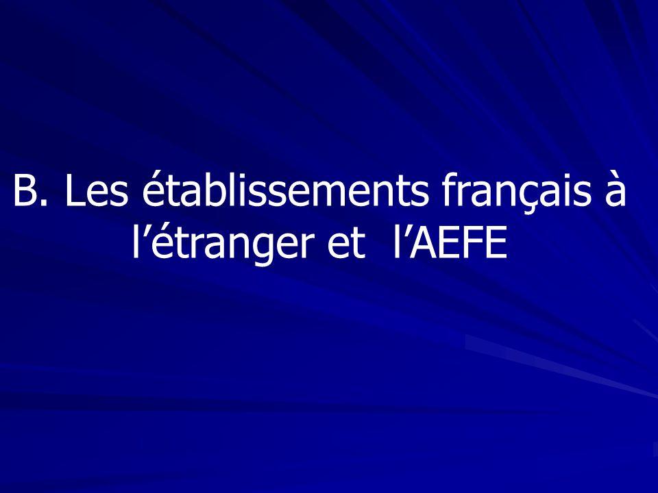 B. Les établissements français à l'étranger et l'AEFE