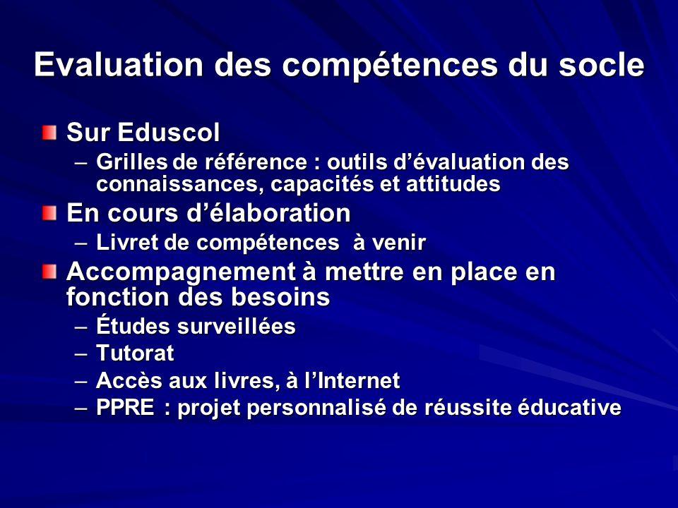 Evaluation des compétences du socle