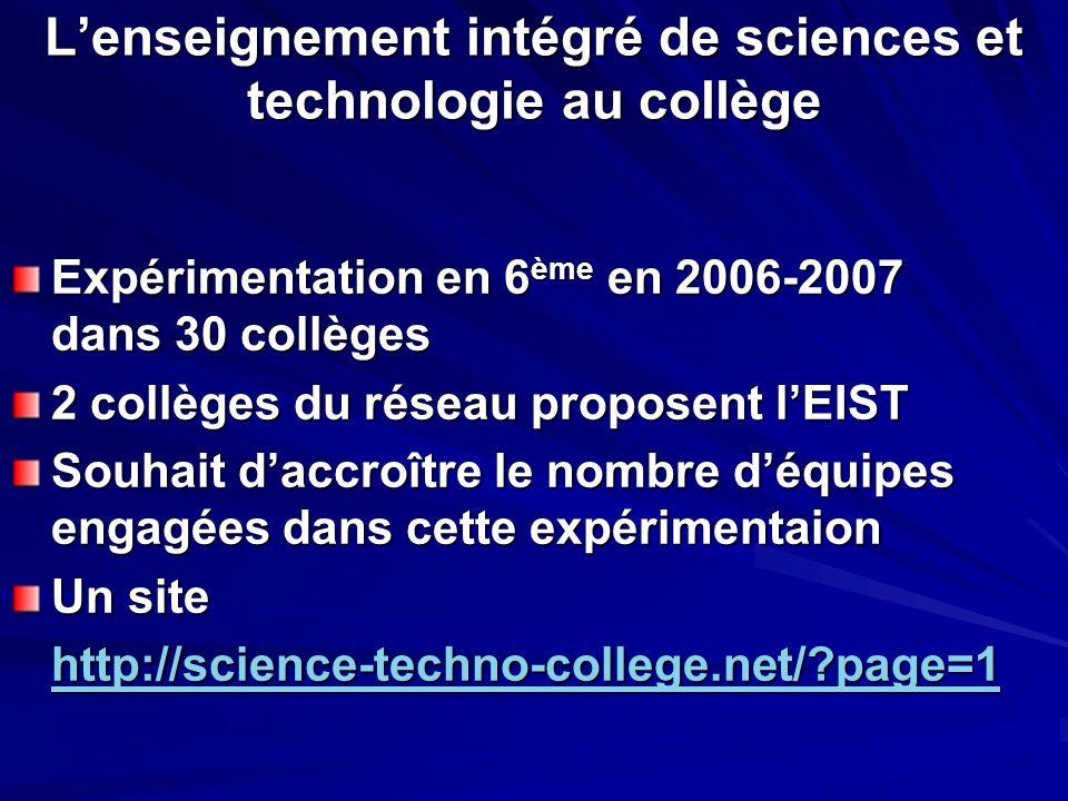 L'enseignement intégré de sciences et technologie au collège