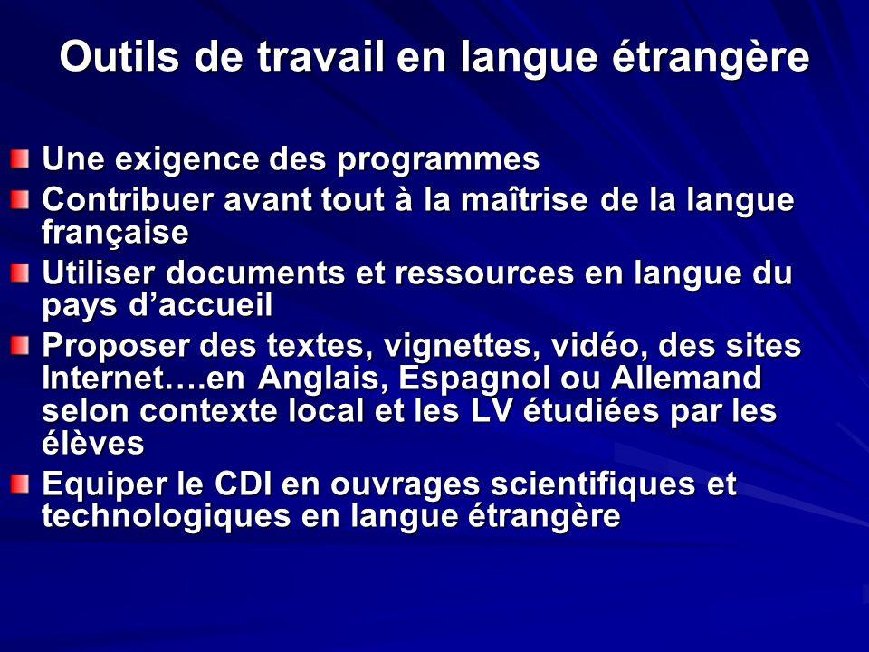 Outils de travail en langue étrangère