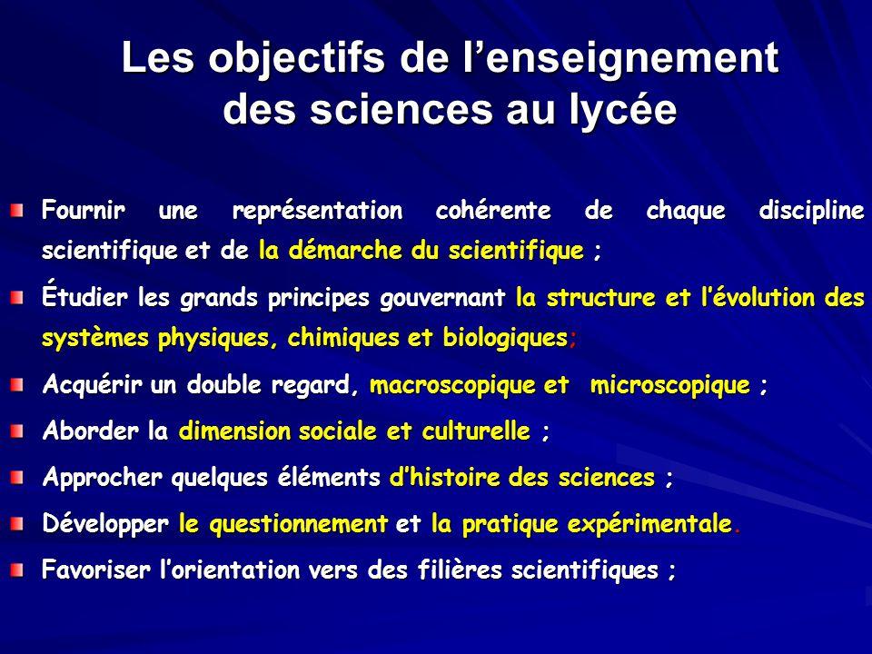 Les objectifs de l'enseignement des sciences au lycée