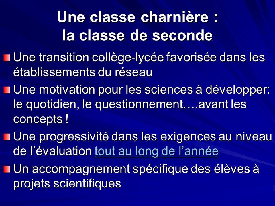 Une classe charnière : la classe de seconde