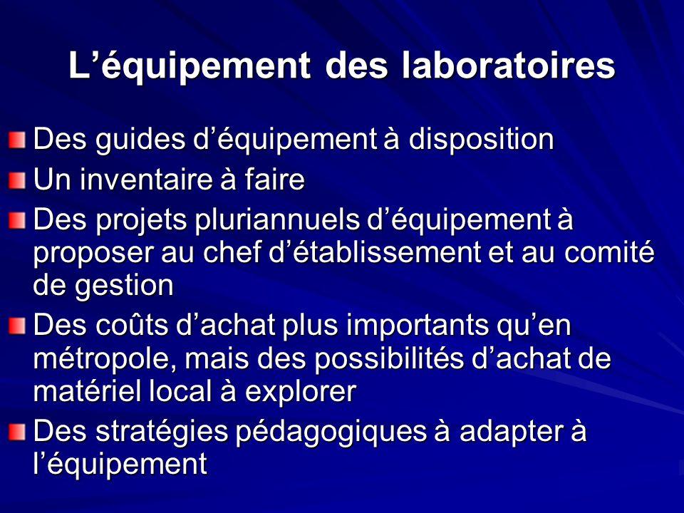 L'équipement des laboratoires