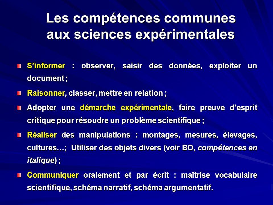 Les compétences communes aux sciences expérimentales
