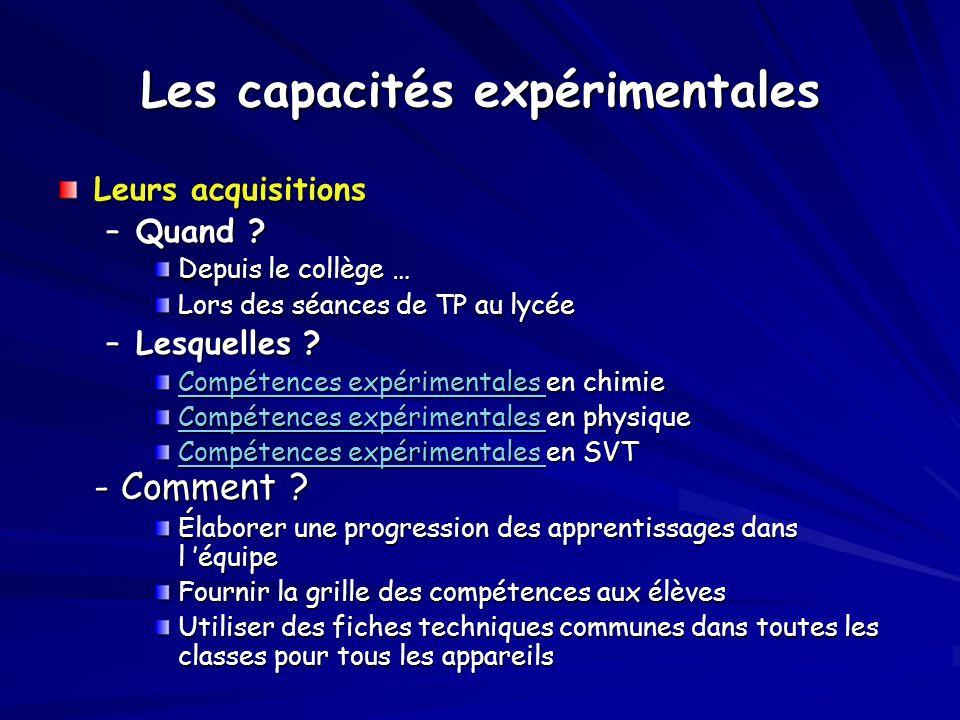 Les capacités expérimentales