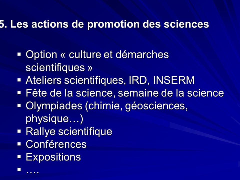 5. Les actions de promotion des sciences