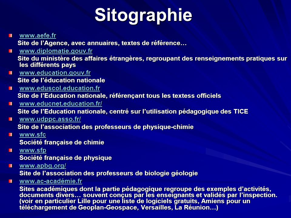 Sitographie www.aefe.fr