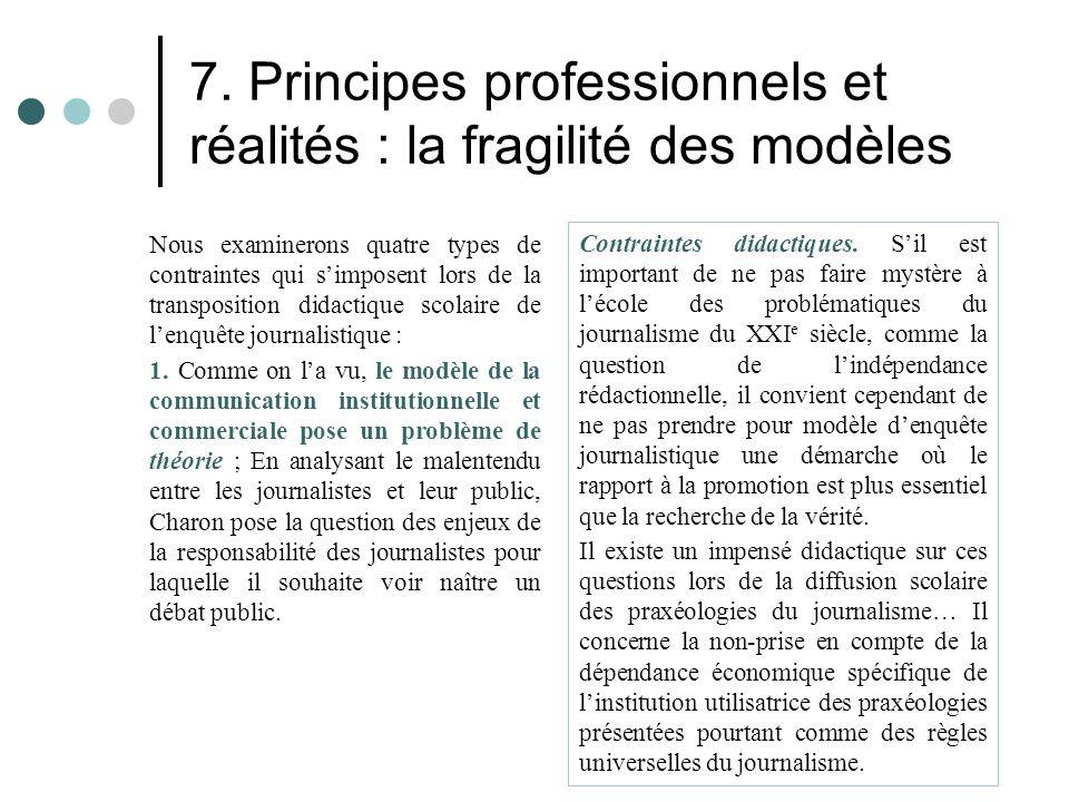 7. Principes professionnels et réalités : la fragilité des modèles