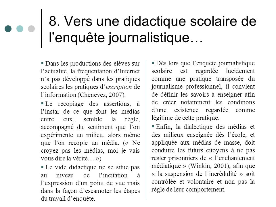 8. Vers une didactique scolaire de l'enquête journalistique…