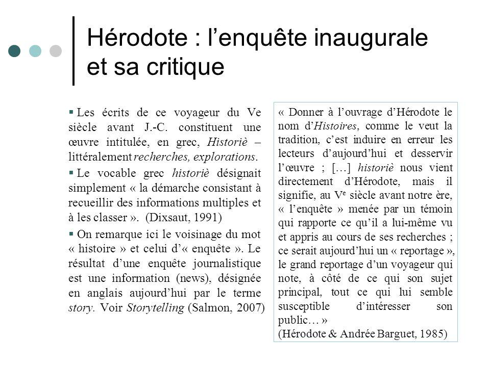 Hérodote : l'enquête inaugurale et sa critique