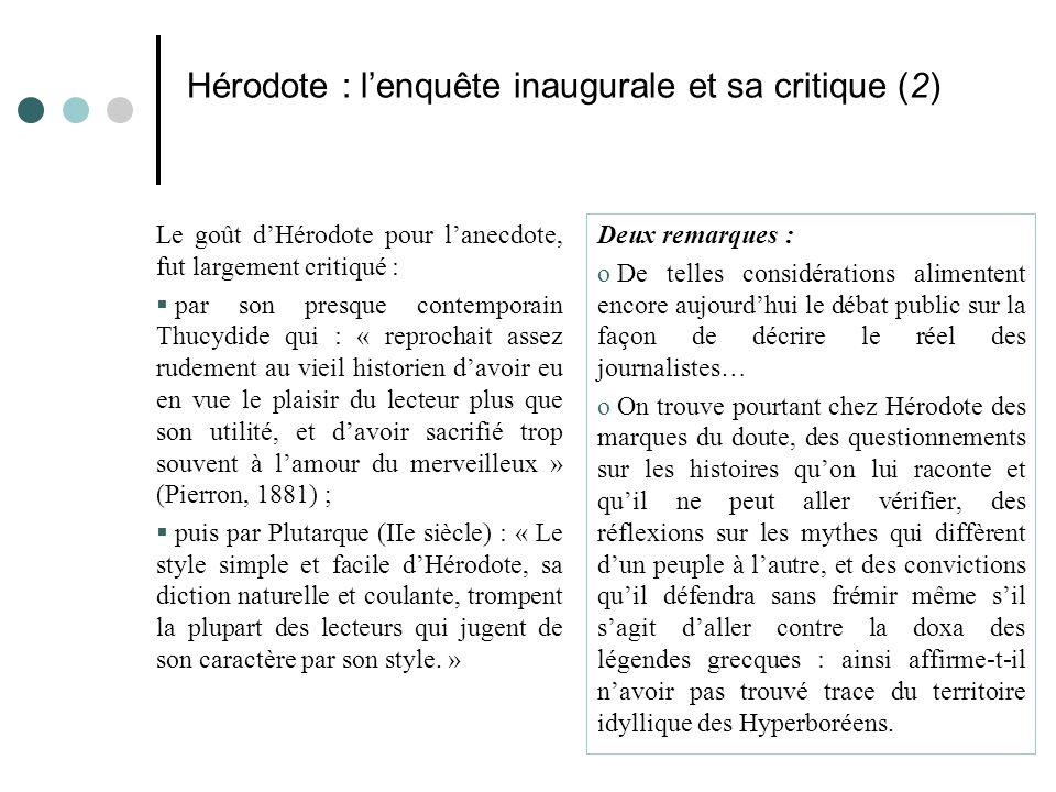 Hérodote : l'enquête inaugurale et sa critique (2)