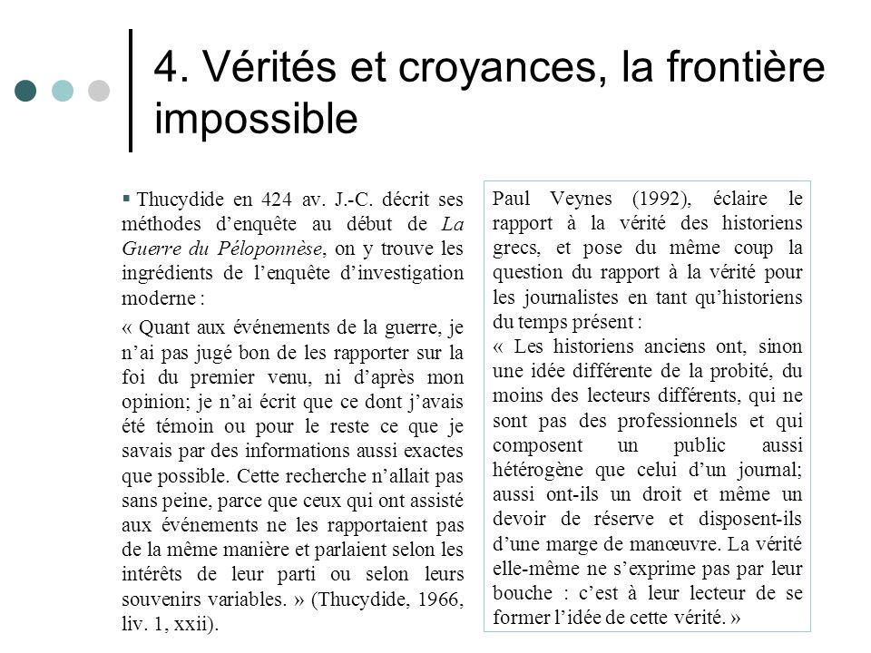 4. Vérités et croyances, la frontière impossible