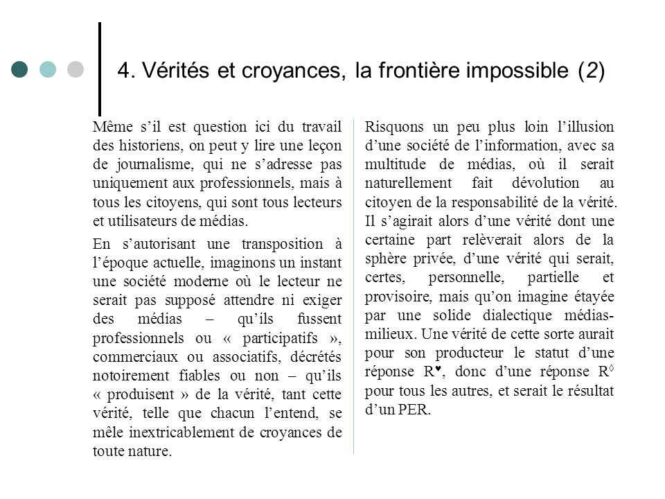 4. Vérités et croyances, la frontière impossible (2)