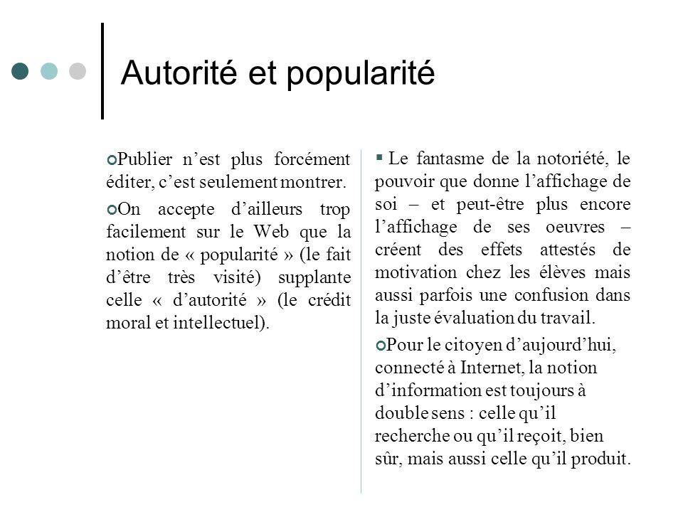 Autorité et popularité