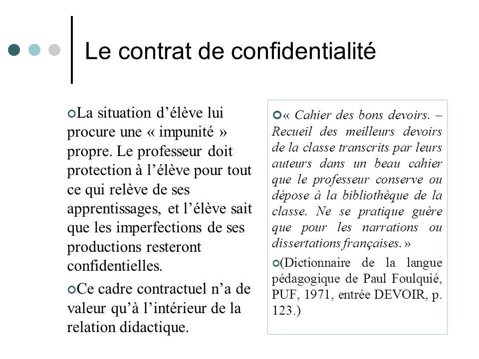 Le contrat de confidentialité