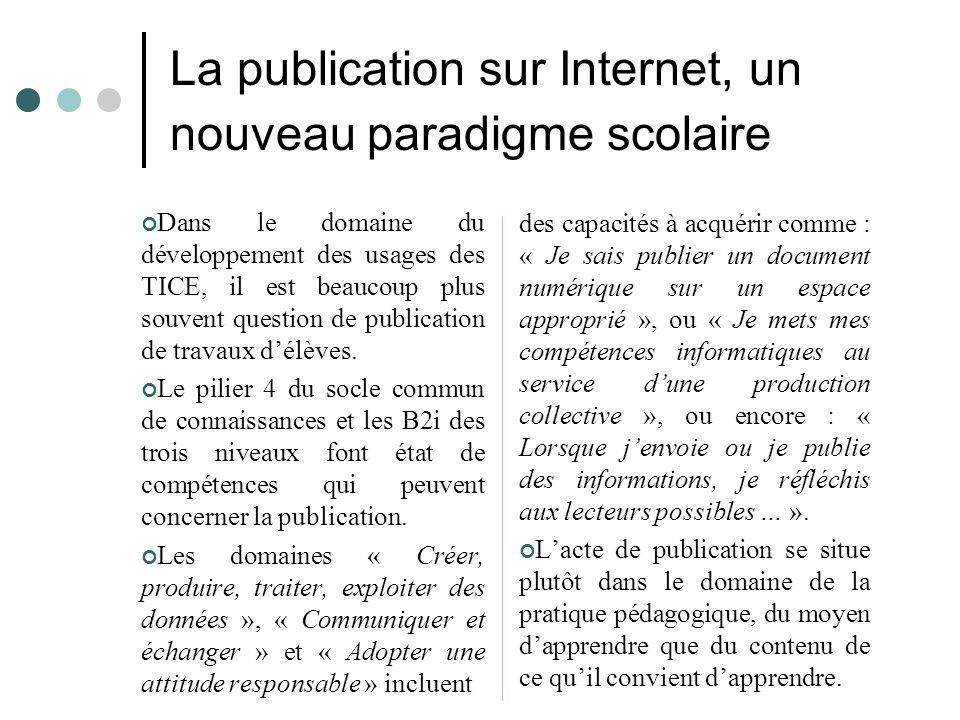 La publication sur Internet, un nouveau paradigme scolaire
