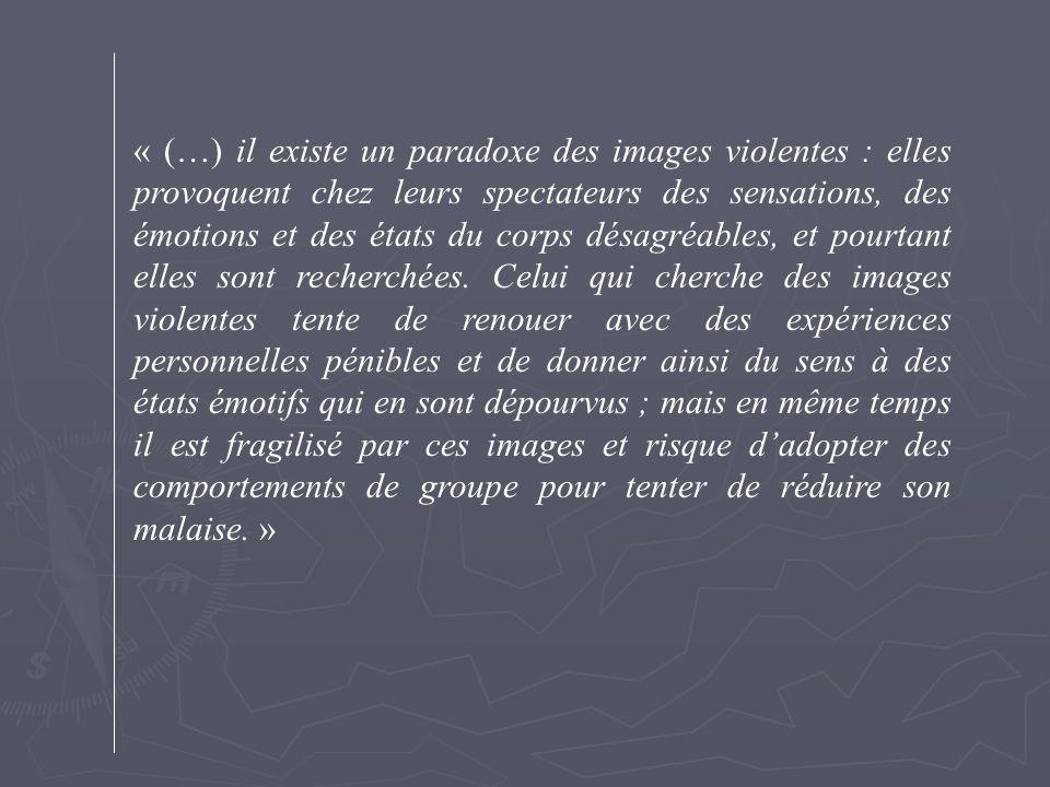 « (…) il existe un paradoxe des images violentes : elles provoquent chez leurs spectateurs des sensations, des émotions et des états du corps désagréables, et pourtant elles sont recherchées.