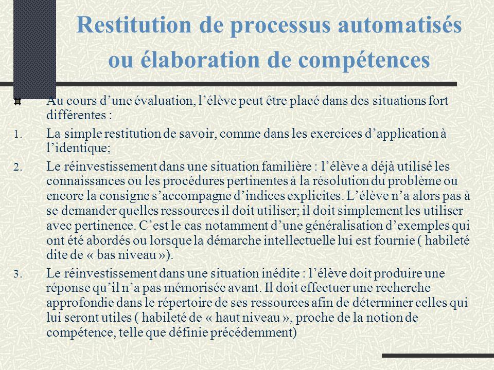 Restitution de processus automatisés ou élaboration de compétences
