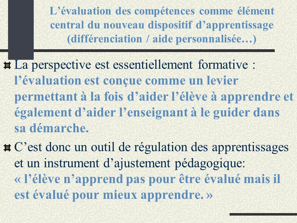 L'évaluation des compétences comme élément central du nouveau dispositif d'apprentissage (différenciation / aide personnalisée…)