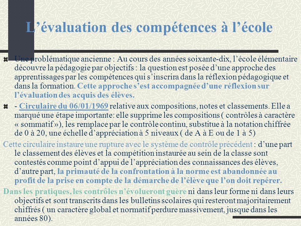L'évaluation des compétences à l'école