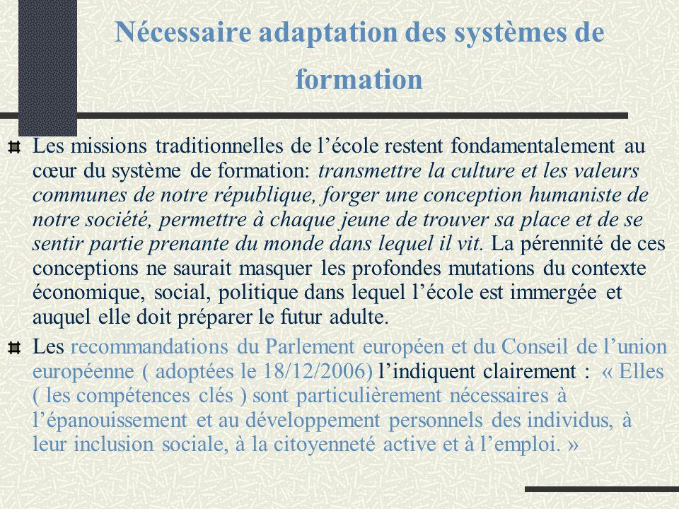Nécessaire adaptation des systèmes de formation