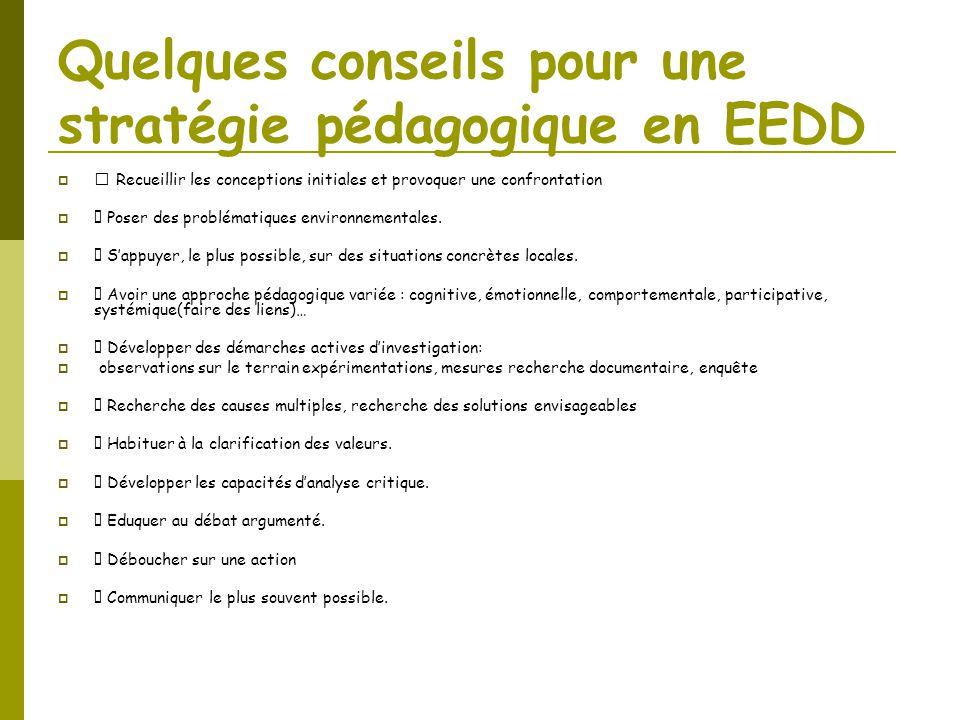 Quelques conseils pour une stratégie pédagogique en EEDD