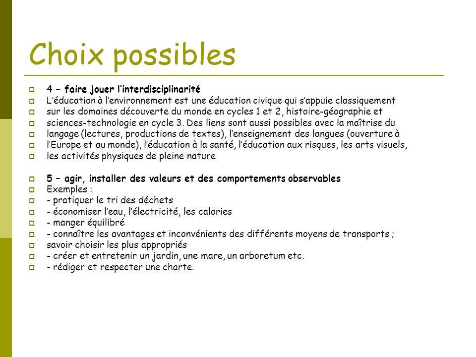 Choix possibles 4 – faire jouer l'interdisciplinarité