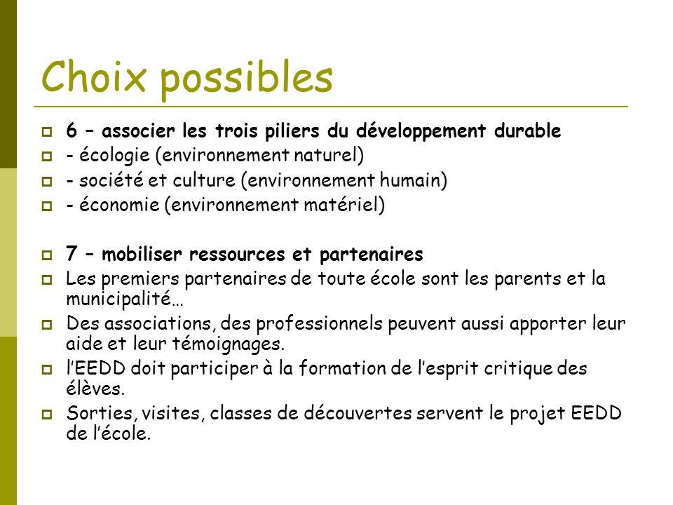 Choix possibles 6 – associer les trois piliers du développement durable. - écologie (environnement naturel)