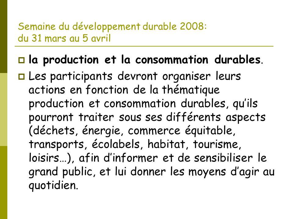 Semaine du développement durable 2008: du 31 mars au 5 avril