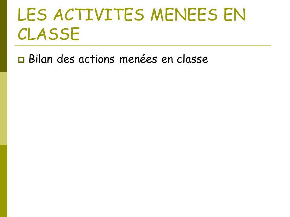 LES ACTIVITES MENEES EN CLASSE